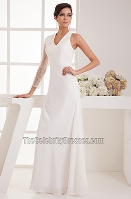 Chic Floor Length One Sleeve Wedding Dress Bridal Gown