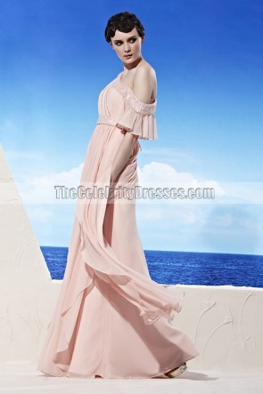 Chic Pink Off-the-Shoulder Beaded Prom Evening Dresses