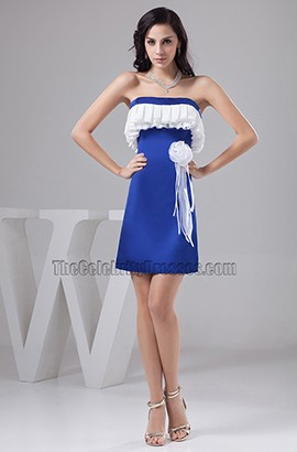 Chic Short Blue And White Strapless Party Homecoming Dresses