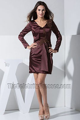 Chic Short Long Sleeve Embroidery Party Dress Cocktail Homecoming Dresses