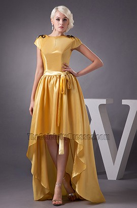 Yellow High Low Prom Gown Evening Formal Dresses