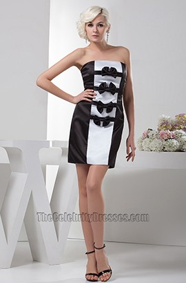 Chic Short Strapless White And Black Party Cocktail Dresses