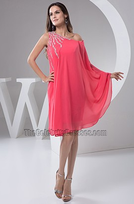 Watermelon Chiffon Cocktail Party Homecoming Dresses