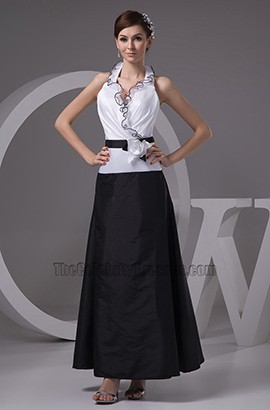 Chic White And Black Halter Formal Dress Evening Gown