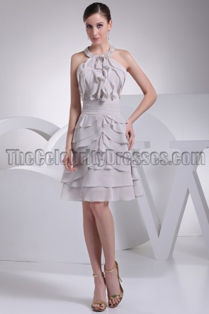 Silver Short Chiffon Halter Homecoming Party Dresses