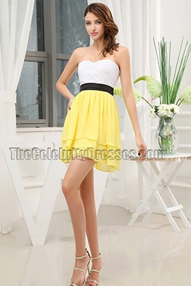 White And Yellow Strapless Party Graduation Homecoming Dresses