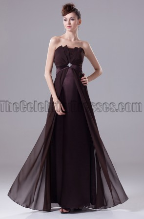 Elegant Chocolate Strapless Prom Gown Evening Dress