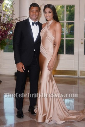 Ciaraのホワイトハウス州立ディナーホルターイブニングウエディングドレス
