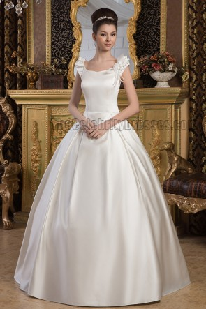 Classic A-Line Floor Length Satin Wedding Dresses
