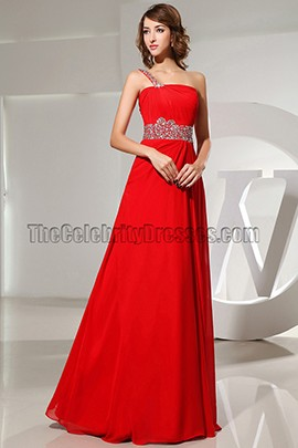 Classic Red One Shoulder Prom Dress Evening Formal Gown With Beading