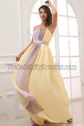 Floor Length Color Block Chiffon Prom Dress Evening Gown