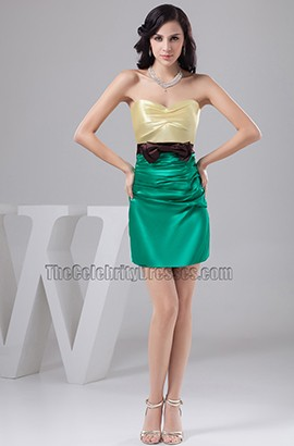 Color Block Strapless Party Homecoming Cocktail Dresses