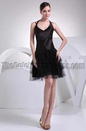 Cute Halter A-Line Little Black Dress Party Dresses
