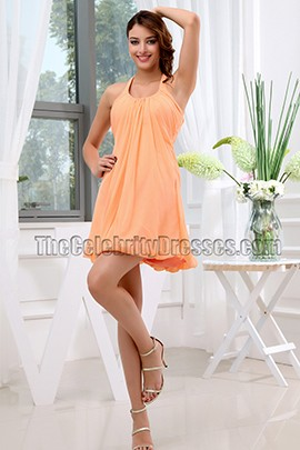 Orange Halter Chiffon Party Homecoming Dresses