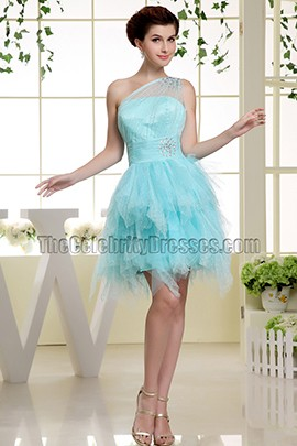 Cute Light Sky Blue One Shoulder Tulle Party Dress Homecoming Dresses