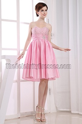Cute Pink A-Line Sweetheart Party Dress Homecoming Dresses