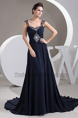 Dark Navy Chiffon Beaded Evening Dress Prom Gown