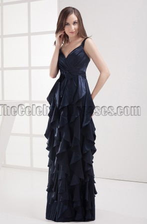 Floor Length Dark Navy Prom Gown Evening Formal Dresses