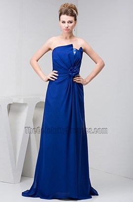 Dark Royal Blue Chiffon Strapless Prom Gown Evening Dresses