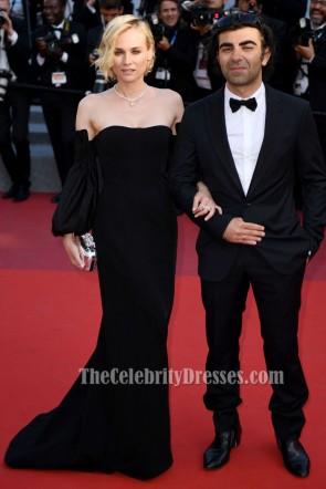 Diane Kruger 2017カンヌ映画祭レッドカーペット黒のイブニングドレス