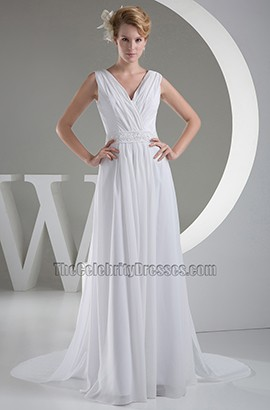 Discount Chapel Train A-Line Chiffon V-Neck Informal Wedding Dresses