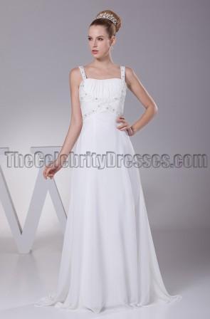 Discount A-Line Chiffon Sweep / Brush Train Wedding Dresses