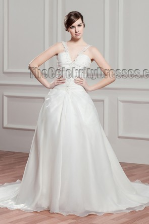 Discount Chapel Train A-Line V-Neck Wedding Dress