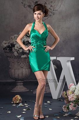 Discount Short Mini Green Halter Party Homecoming Dresses