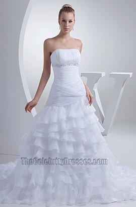 Discount Strapless A-Line Chapel Train Wedding Dresses