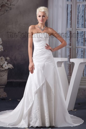 Discount Strapless A-Line Embroidered Lace Up Wedding Dress Bridal Gown