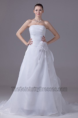 Discount Simple Strapless A-Line Organza Wedding Dress