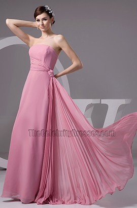 Discount Strapless Chiffon Bridesmaid Prom Dresses