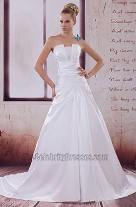 Discount Strapless Taffeta A-Line Wedding Dresses