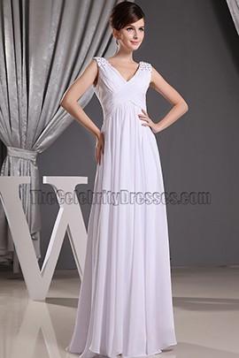Discount White Chiffon V-neck Prom Gown Evening Dresses Informal Wedding Dress