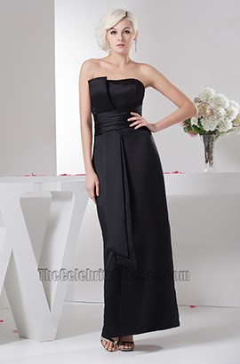 Elegant Black Strapless Formal Gown Evening Prom Dresses