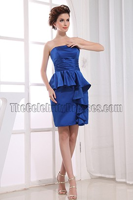 Elegant Blue Strapless Cocktail Dress Party Dresses
