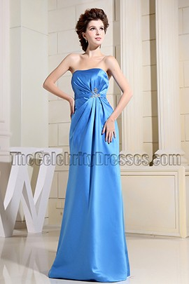Elegant Blue Strapless Prom Gown Evening Dress