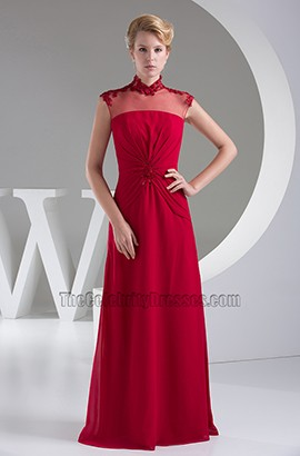 Elegant Burgundy Floor Length Formal Gown Prom Dress