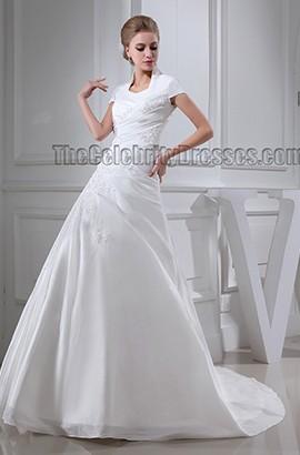 Elegant High Neck A-Line Chapel Train Wedding Dresses