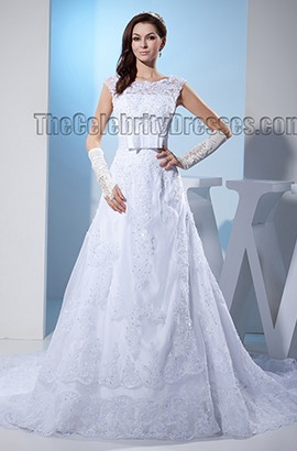 Elegant Lace A-Line Beaded Chapel Train Wedding Dresses