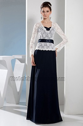 Lace And Chiffon Floor Length Formal Prom Dresses