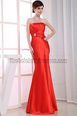 Elegant Orange Red Strapless Bridesmaid Prom Dresses