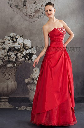Elegant Red Strapless Embroidered A-Line Formal Dress Evening Gown