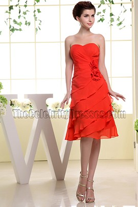 Red Sweetheart Chiffon Cocktail Dress Bridesmaid Dresses