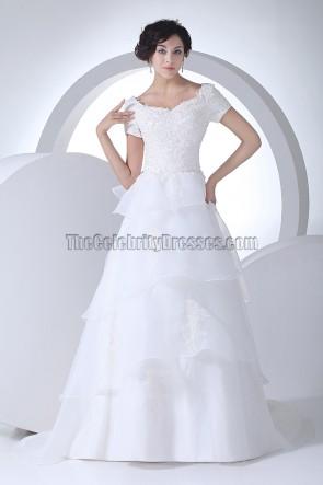 Elegant Short Sleeve A-Line Organza Wedding Dresses