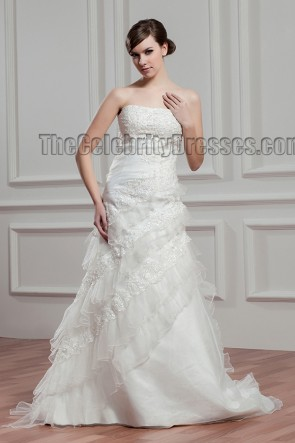 Elegant Strapless A-Line Beaded Bridal Gown Wedding Dress