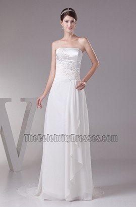 Elegant Strapless A-Line Embroidery Wedding Dresses