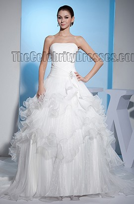Elegant Strapless A-Line Ruffles Chapel Train Wedding Dress