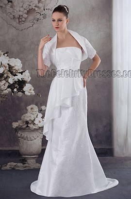 Elegant Strapless Beaded Sweep Brush Train Wedding Dress With A Wrap