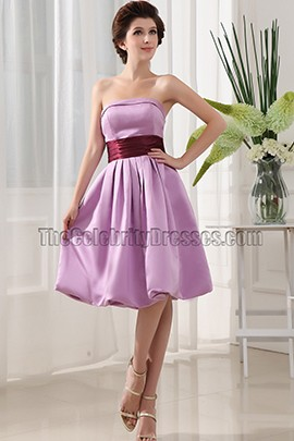 Strapless Knee Length Cocktail Graduation Bridesmaid Dresses